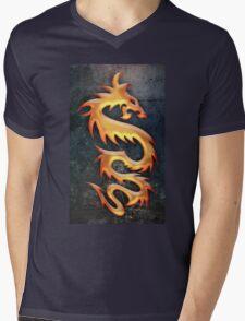 Golden Dragon Mens V-Neck T-Shirt