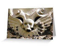 Winged Stone Skull Greeting Card
