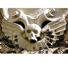 Winged Stone Skull Photographic Print