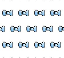Pixel Ribbon Bow Pattern (blue) by maximumcapacity
