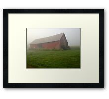 Misty Barn Framed Print