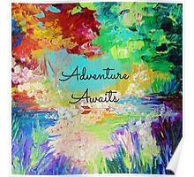 ADVENTURE AWAITS Colorful Abstract Acrylic Nature Painting Hipster Typography Wanderlust Poster