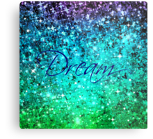 DREAM Colorful Blue Green Typography Ocean Ombre Fine Art Abstract Painting Metal Print