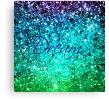 DREAM Colorful Blue Green Typography Ocean Ombre Fine Art Abstract Painting Canvas Print