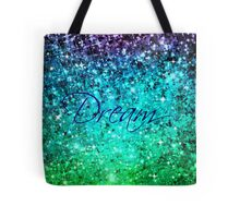 DREAM Colorful Blue Green Typography Ocean Ombre Fine Art Abstract Painting Tote Bag