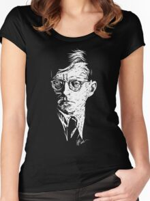 Shostakovich drawing in white Women's Fitted Scoop T-Shirt