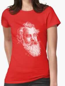 Brahms drawing in white Womens Fitted T-Shirt