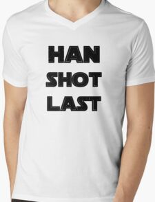 Han Shot Last Mens V-Neck T-Shirt