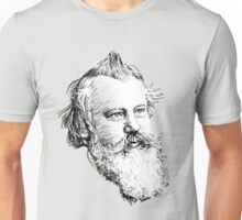Brahms drawing in white on black Unisex T-Shirt