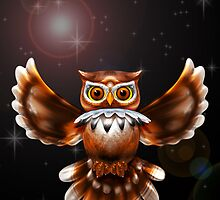 Surreal Owl Metallic Flying on the Night 3d by BluedarkArt