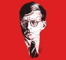 Shostakovich drawing in white on black Kids Tee