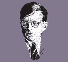 Shostakovich drawing in white on black by fortissimotees
