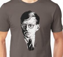 Shostakovich drawing in white on black Unisex T-Shirt