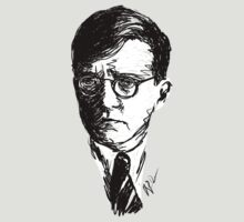 Shostakovich drawing in black on white by fortissimotees
