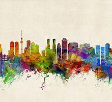 Tokyo Japan Skyline Cityscape by Michael Tompsett