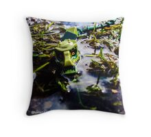 Crocodile in the Swamp Throw Pillow