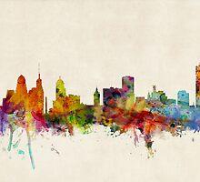 Buffalo New York Skyline Cityscape by Michael Tompsett