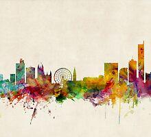 Manchester England Skyline Cityscape by Michael Tompsett