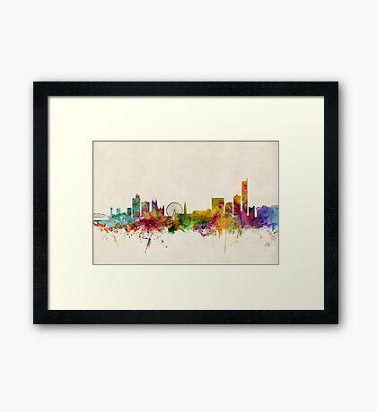 Manchester England Skyline Cityscape Framed Print