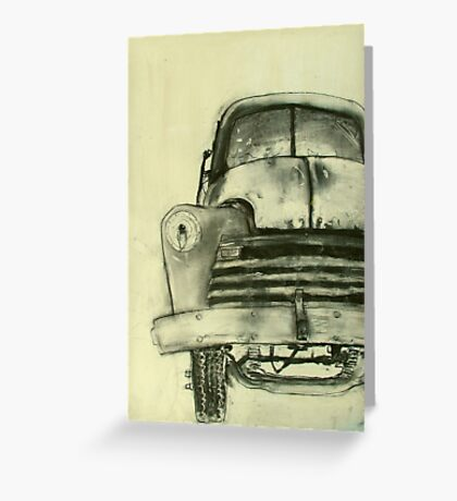 old truck charcoal Greeting Card
