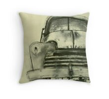 old truck charcoal Throw Pillow