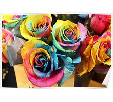 Colorful Bouquet of Rainbow Roses Poster