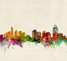 Cincinnati Ohio Skyline Cityscape by Michael Tompsett