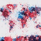 World Map Paint Splashes by ArtPrints