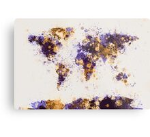 World Map Paint Splashes Metal Print