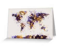 World Map Paint Splashes Greeting Card