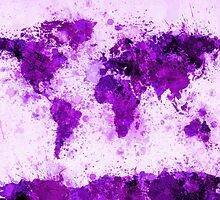 World Map Paint Splashes Purple by Michael Tompsett