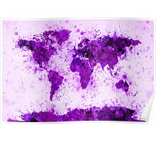 World Map Paint Splashes Purple Poster