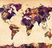 World Map Watercolor by ArtPrints