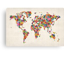Flowers Map of the World Map Canvas Print