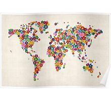 Flowers Map of the World Map Poster