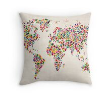 Stars Map of the World Map Throw Pillow