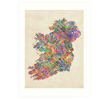 Ireland Eire City Text map Art Print