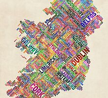 Ireland Eire City Text map by Michael Tompsett