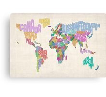 Text Map of the World Map Canvas Print