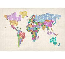 Text Map of the World Map Photographic Print