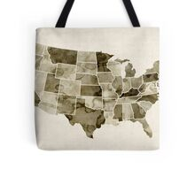 United States Watercolor Map Tote Bag