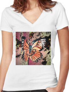 Autumn butterfly graphic Women's Fitted V-Neck T-Shirt