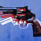 Magnum Revolver on Blue by ArtPrints
