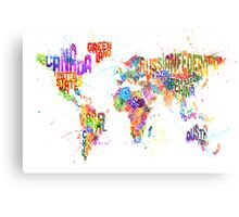 Paint Splashes Text Map of the World Metal Print
