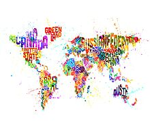 Paint Splashes Text Map of the World Photographic Print