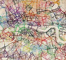 Watercolour Map of London by Michael Tompsett
