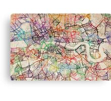 Watercolour Map of London Canvas Print