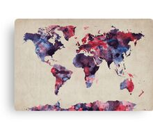 World Map Watercolor Canvas Print
