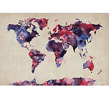 World Map Watercolor Photographic Print