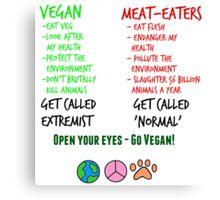 Open Your Eyes - Go Vegan! Canvas Print